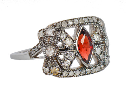 Brazen Blossoms - Garnet Diamond Ring