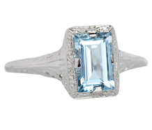 Icy Blue - Art Deco Aquamarine Ring