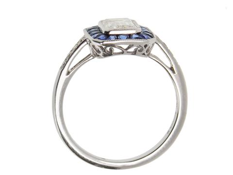 A Classic - Diamond Sapphire Engagement  Ring