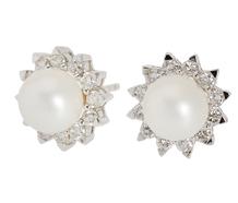 Mastaloni Pearl Diamond Stud Earrings