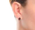 Garnet Diamond Halo Earrings