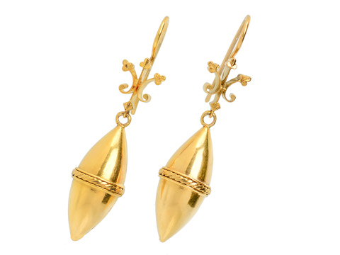 Archaeological Revival Torpedo Drop Earrings