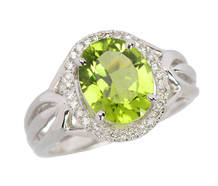 Grass is Greener - Peridot Estate Halo Ring