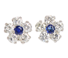 Petite Flowers - Sapphire Diamond Earrings