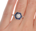 Diamond Sapphire Flower Ring