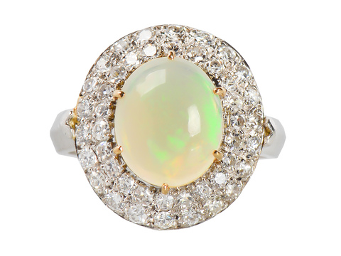 Elegance in an Opal Diamond Ring