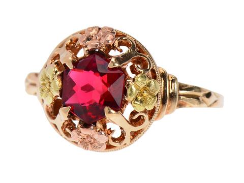 Garnet Two Tone Vintage Ring