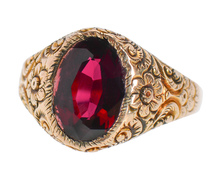 Edwardian Man's Garnet Ring