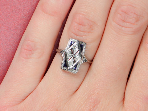 Art Deco Diamond Sapphire Ring
