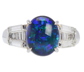 Estate Black Opal & Diamond Ring