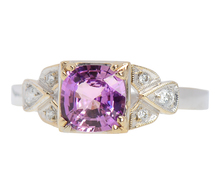 Natural Purple Pink Sapphire Diamond Ring