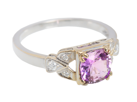 Natural Purple Pink Sapphire Diamond Ring
