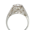 Art Deco Diamond Solitaire Ring - Intricate Filigree
