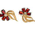Garnets & Gold Vintage Flower Earrings