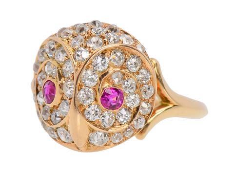Antique Diamond Ruby Owl Ring