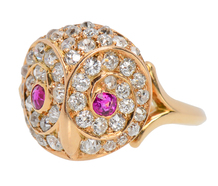 Antique Diamond Ruby Owl Ring
