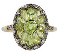 Vintage Homage – Peridot Diamond Flower Ring