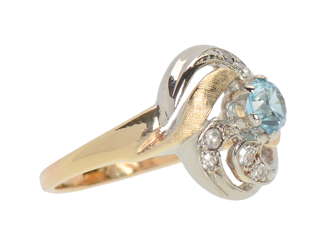 Two Tone Zircon Diamond Vintage Ring