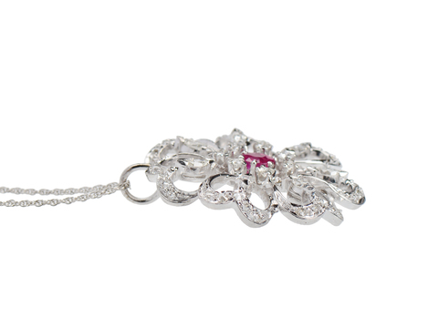 Vintage Diamond Ruby Flower Pendant