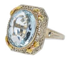 Vintage 1930s Aquamarine Filigree Ring