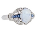 Ornate Moonstone Diamond Sapphire Ring