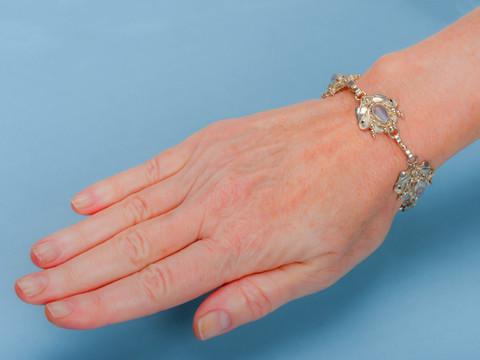 Retro Blue Moonstone Silver Bracelet
