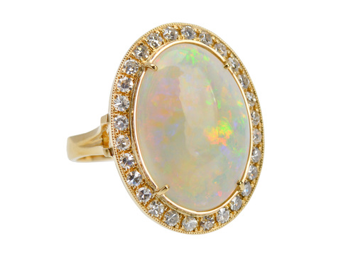 Australian Opal Diamond Halo Ring