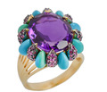 Signed Le Vian Turquoise Amethyst Ring