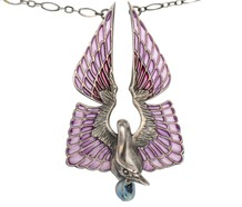 Art Nouveau Plique à Jour Swan Necklace by Wolfers