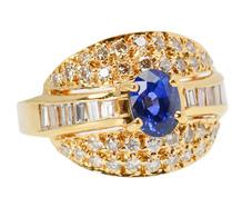 Luminous Diamond Sapphire Dome Ring