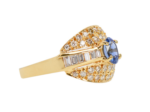 Luminous Diamond Sapphire Dome Ring
