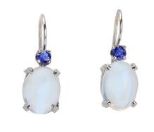 Flawless Moonstone & Sapphire Earrings