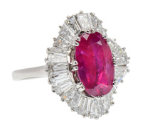 No Heat Burmese Ruby Diamond Ballerina Ring