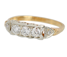 Vintage Three Diamonds Two Tone Ring