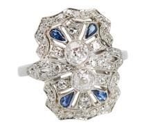 Alluring Diamond Sapphire Platinum Ring