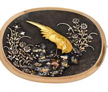 Impressive Antique Shakudo Brooch Pendant