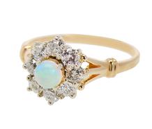 Vintage Opal Diamond Cluster Ring