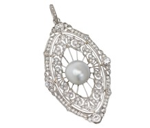 Freshwater Pearl Diamond Marquise Pendant