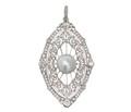 Freshwater Pearl Diamond Marquise Pendant