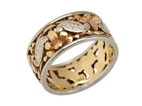 Wide Two Tone Retro Wedding Ring