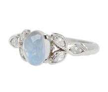 Diamond & Moonstone Platinum Ring