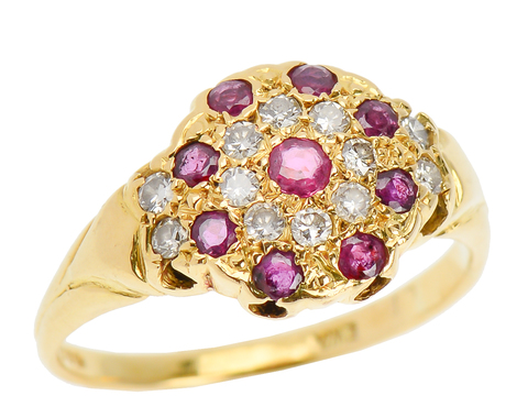 Vintage Ruby Diamond Halo Ring in 18k Gold