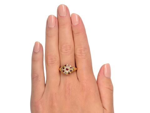 Vintage Ruby Diamond Halo Ring in 18k Gold