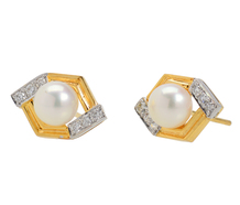 Classic Cultured Pearl Diamond Earrings