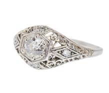 Romantic Wish - Art Deco Diamond Engagement Ring