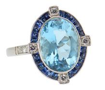 Blue on Blue Aquamarine Sapphire Ring