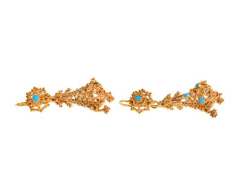 Georgian Turquoise Cannetille Drop Earrings