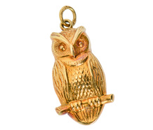 Wisdom in a Golden Owl Vintage Pendant
