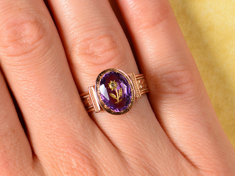 Victorian Carved Amethyst Antique Ring