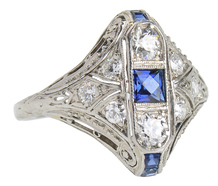 Dramatic Art Deco Sapphire Diamond Ring